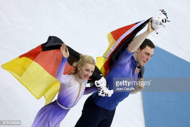 Aljona Savchenko and Bruno Massot of Germany celebrates winning the gold medal following the Figure Skating Pair Skating Free Program on day six of...