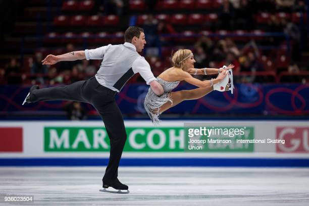 Aljona Savchenko and Bruno Massot of Germany compete in the Pairs Short Program during day one of the World Figure Skating Championships at...
