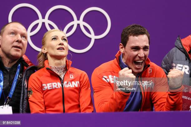 Aljona Savchenko and Bruno Massot of Germany react after competing during the Pair Skating Free Skating at Gangneung Ice Arena on February 15 2018 in...