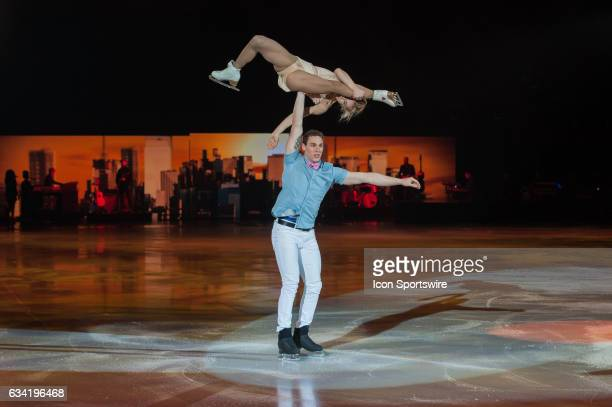 Aljona Savchenko and Bruno Massot performs their routine during the Art on Ice show on February 7 at Malley Arena in Lausanne Switzerland
