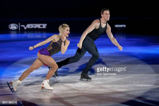 Aljona Savchenko and Bruno Massot skates during the Art on Ice show on February 7 at Malley Arena in Lausanne Switzerland