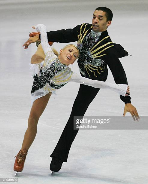 Aljona Savchenko and Robin Szolkowy skate in the pair's free program during day three of the German Figure Skating Championships at the...