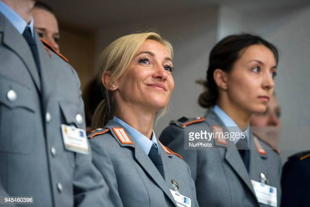 Aljona Savchenko is pictured during a ceremony to honour the members of the Bundeswehr who attended the Winter Olympic Games in Pyeongchang at the...