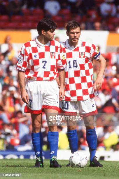 Aljosa Asanovic and Zvonimir Boban of Croatia during the Quarter Final European Championship match between Germany and Croatia at Old Trafford,...