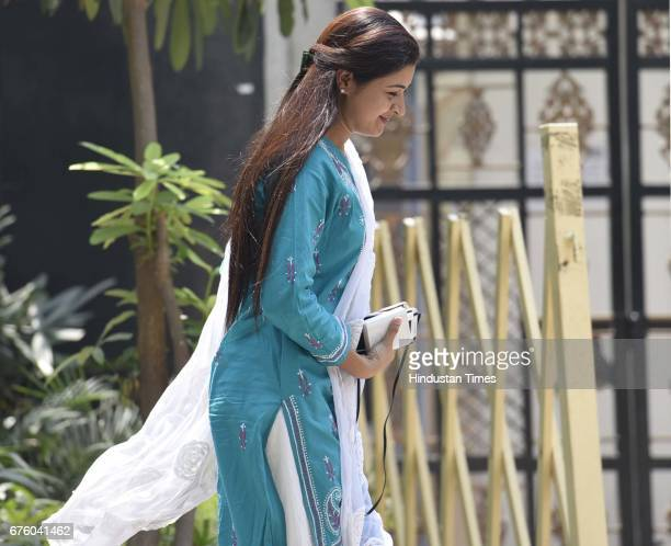 Alka Lamba leaves after the MLA feedback meeting on MCD Elections at Chief Minister's house on May 2 2017 in New Delhi India Kejriwal met each of his...