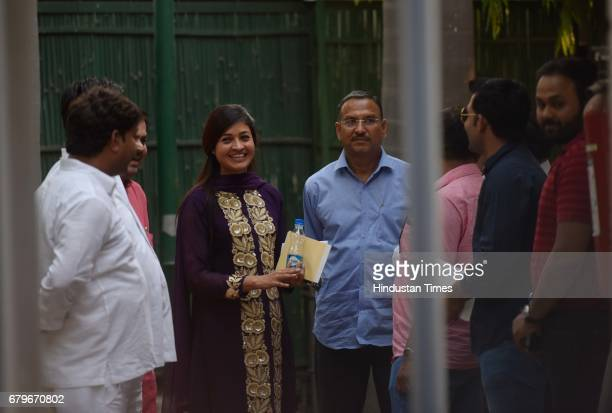 Alka Lamba with others coming out after the Aam Aadmi Party MLAs meeting at Delhi CM Arvind Kejriwal House on May 6 2017 in New Delhi India...