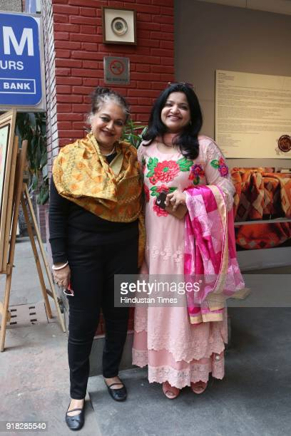 Alka Pande and Rakhi Bhandari during the Phulkari Mela at Open Palm Court and Amphitheatre India Habitat Centre on February 10 2018 in New Delhi India
