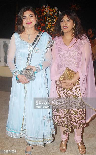 Alka Yagnik at Imran Khan and Avantika Malik's wedding reception party which was organised by Aamir Khan and Kiran Rao at Taj Lands End in Bandra on...