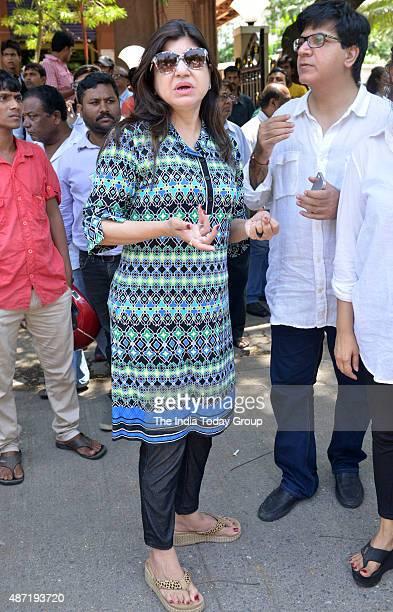 Alka Yagnik at singer Aadesh Shrivastavas funeral in Mumbai