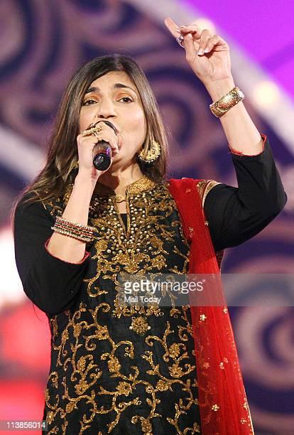 Alka Yagnik during Pyarelal's musical concert at Andheri Sports Complex in Mumbai