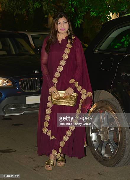 Alka Yagnik during the wedding reception of stylist Shaina Nath daughter of Rakesh Nath in Mumbai