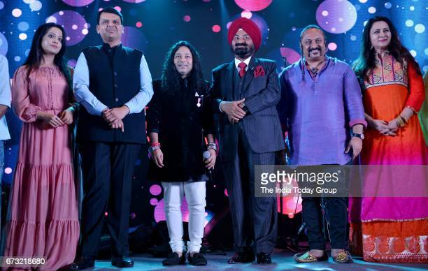 Alka Yagnik Poonam Dhillon Kailash Kher Devendra Fadnavis and Gurdas Maan during the celebration of Kailash Khers band Kailasa