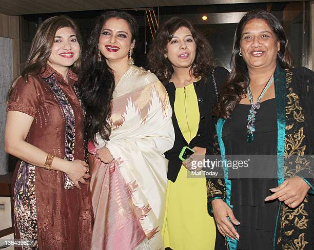 Alka Yagnik Rekha and Mohini Chabria during the launch of Mangiamo restaurant at Bandra in Mumbai on Tuesday
