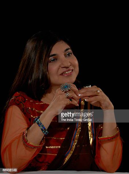 Alka Yagnik Singer on the sets of Seedhi Baat a popular TV show aired on Aaj Tak in Mumbai Maharashtra India