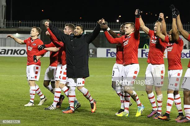 AZ Alkmaar celebrate their 10 victory at the end of the UEFA Europa League group D football match between Dundalk and AZ Alkmaar at the Tallaght...