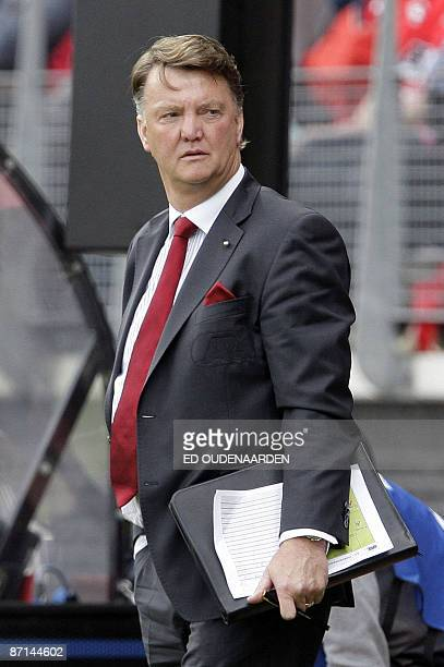 Alkmaar coach Louis van Gaal is pictured during a match against SC Heerenveen in Alkmaar on May 10 2009 Defending German Bundesliga champions Bayern...