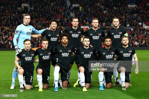 Alkmaar line up during the UEFA Europa League group L match between Manchester United and AZ Alkmaar at Old Trafford on December 12, 2019 in...