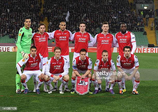 Alkmaar players pose before the UEFA Europa League Round of 16 second leg match between Udinese Calcio and AZ Alkmaar at Friuli Stadium on March 15...
