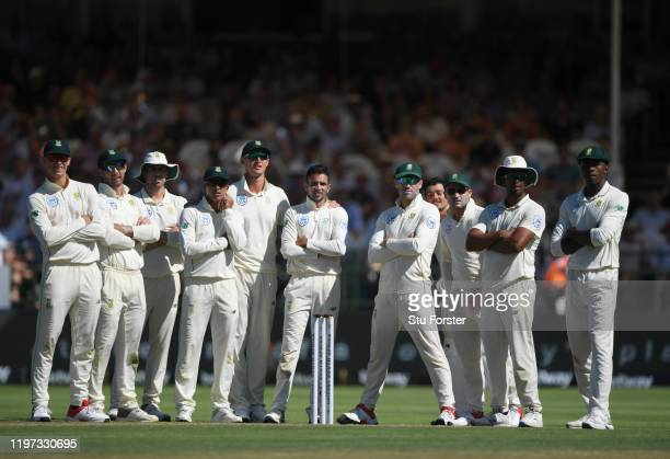 All 11 South Africa players look up to the big screen whilst a review takes place during Day One of the Second Test between England and South Africa...