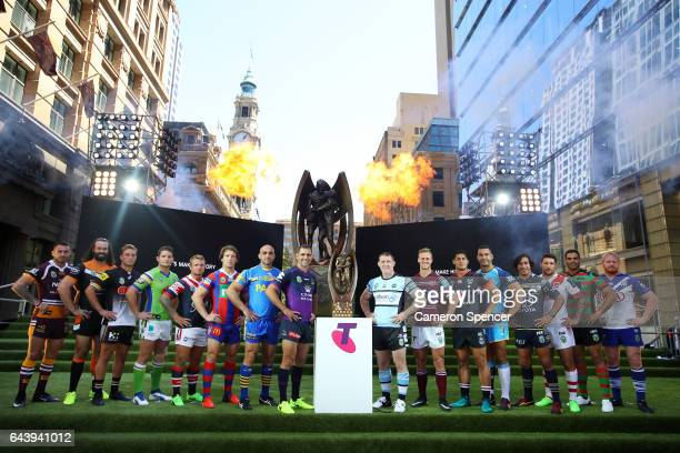 All 16 NRL team captains pose with the Provan Summons Trophy during the 2017 NRL Season Launch at Martin Place on February 23 2017 in Sydney Australia