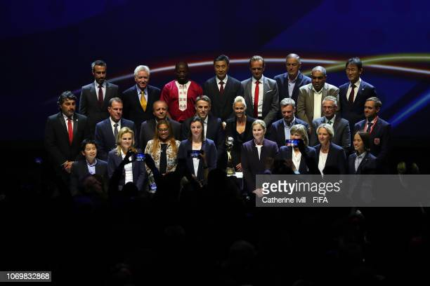 All 24 national coachs on stage following the FIFA Women's World Cup France 2019 Draw at La Seine Musicale on December 8, 2018 in Paris, France.