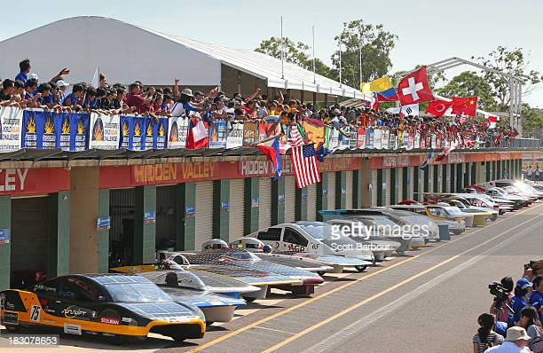 All 40 solar cars and team members involved in the Bridgestone World Solar Challenge pose for a photograph at the Hidden Valley Motor Sports Complex...