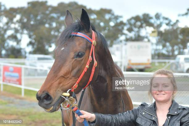 All About Alice after winning the Rushton Park FM Maiden Plate at Tatura Racecourse on August 18 2018 in Tatura Australia