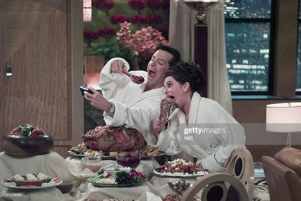 WILL & GRACE -- 'All About Christmas Eve' Episode 11 -- Air Date -- Pictured: (l-r) Sean Hayes as Jack McFarland, Megan Mullally as Karen Walker -- Photo by: NBCU Photo Bank