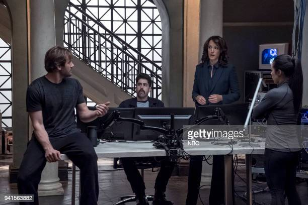 """All About Eve"""" Episode 206 -- Pictured: Clive Standen as Bryan Mills, Adam Goldberg as Kilroy, Jennifer Beals as Christina Hart, Jessica Camacho as..."""