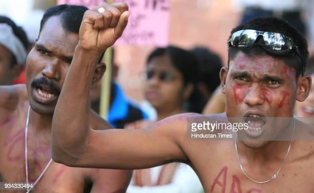 All Adivasi Student Association of Assam activists demonstrates at Jantar Mantar in New Delhi