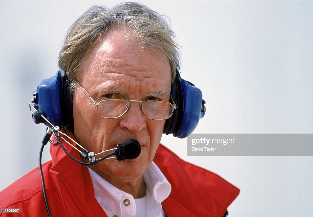 All American Racing owner Dan Gurney talks on headphones during CART testing at the Miami-Dade Homestead Motorsports Complex in Homestead, Florida on February 6, 1996. (Photo by David Taylor /Getty Images).