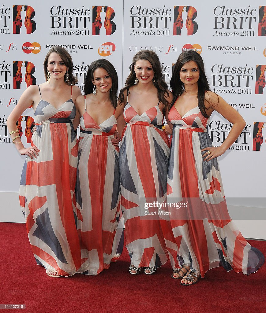 All Angels (L-R) Charlotte Ritchie, Rachel Fabri, Daisy Chute and Melanie Nakhla arrive at The Classic BRIT Awards at Royal Albert Hall on May 12, 2011 in London, England.