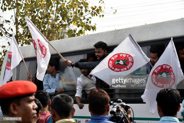 All Assam Students Union activists detained by police while they block NH 37 near Basistha during a protest against the recent attack on AASU members...