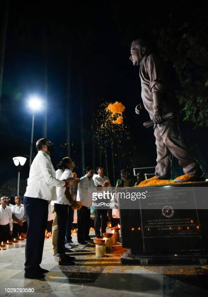 All Assam Students' Union adviser Dr Samujjal Bhattacharya Indian Athlete Hima Das and others paying tribute to late Dr Bhupen Hazarika on his 92nd...