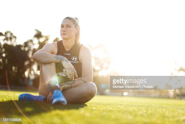 All Australian team member Tayla Harris of the Blues poses for a photograph at Arden Street on April 27 2020 in Melbourne Australia