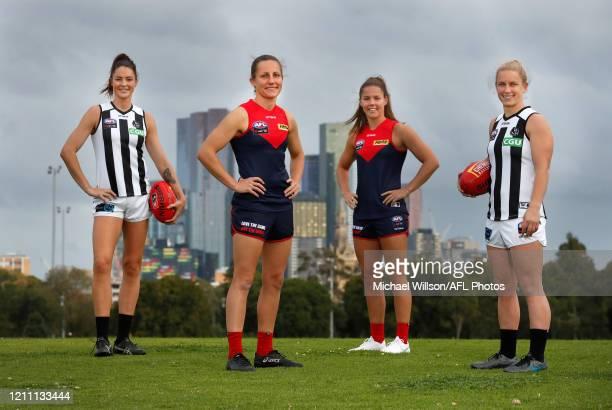 2020 AFLW All Australian team members Sharni Layton of the Magpies Karen Paxman of the Demons Kate Hore of the Demons and Jaimee Lambert of the...