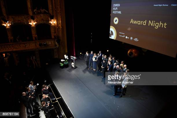 All award winners pose on stage during the Award Night Ceremony during the 13th Zurich Film Festival on October 7 2017 in Zurich Switzerland The...