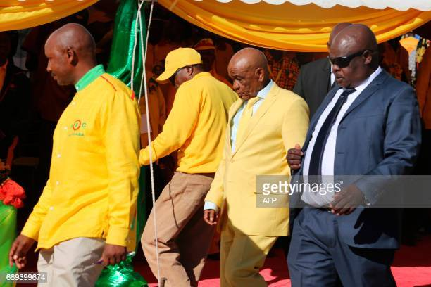 All Basotho Convention political party leader Tom Thabane arrives to a campaign rally before upcoming general elections on May 28, 2017 in Maseru....