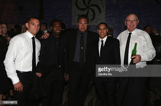 All Black Aaron Cruden sevens player Tomasi Cama Chiefs Coach Dave Rennie All Black Aaron Smith and All Black scrum coach Mike Cron pose during the...