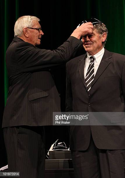 All Black Alan Smith is capped by NZRU President John Sturgeon during the New Zealand All Blacks Test Capping Ceremony at the Theatre Royal on June...