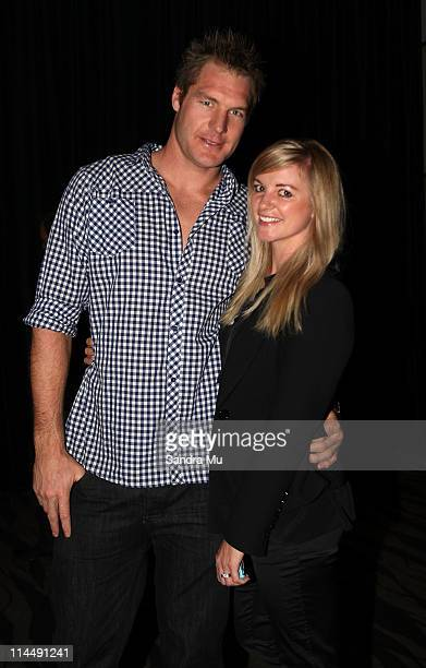 All Black Ali Williams and his fiancee Casey Green attend the Rise Up Christchurch telethon appeal event at Sky City on May 22 2011 in Auckland New...