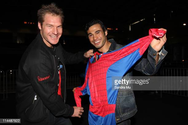 All Black Ali Williams challenges actor Ben Mitchell to run across the field at the Warriors game today dressed as Spiderman during the Rise Up...
