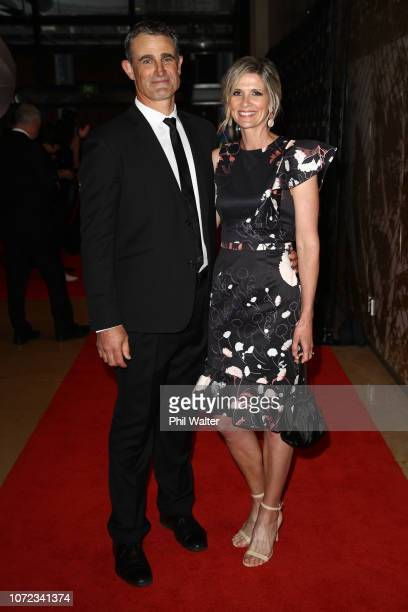 All Black assistant coach Scott McLeod and wife Dana McLeod on the red carpet during the 2018 ASB Rugby Awards at SkyCity Convention Centre on...