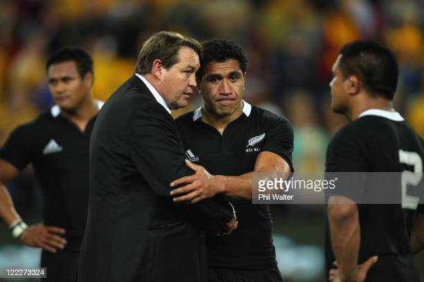 All Black assistant coach Steve Hansen consoles Mils Muliaina during the TriNations Bledisloe Cup match between the Australian Wallabies and the New...