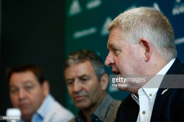 All Black assistant coach Wayne Smith announces his retirement as he speaks to the media alongside Steve Hansen and NZR CEO Steve Tew during a New...