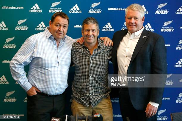 All Black assistant coach Wayne Smith poses after announcing his retirement with Steve Hansen and NZR CEO Steve Tew during a New Zealand Rugby Union...
