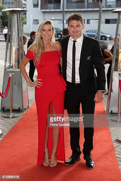 All Black Beauden Barrett and Hannah Laity during the 2016 Halberg Awards at Vector Arena on February 18 2016 in Auckland New Zealand