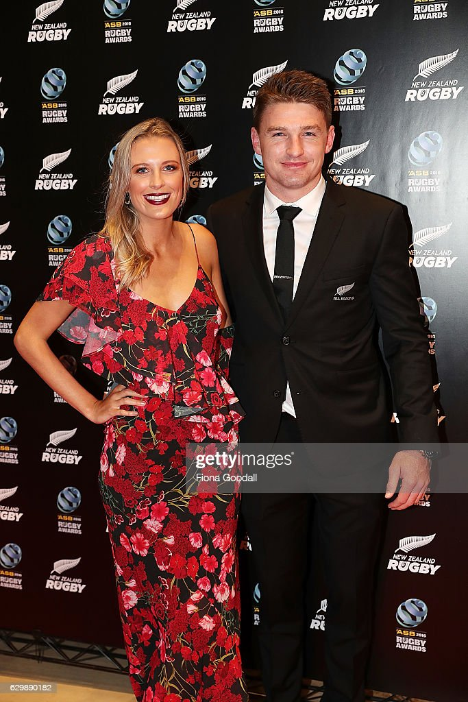 All Black Beauden Barrett and partner Hannah Laity attend the ASB Rugby Awards at SkyCity Convention Centre on December 15, 2016 in Auckland, New Zealand.