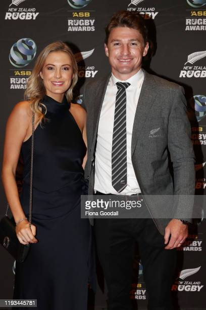 All Black Beauden Barrett and wife Hannah Barrett arrive at the New Zealand Rugby Awards at the Sky City Convention Centre on December 12 2019 in...