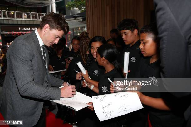 All Black Beauden Barrett signs autographs for students from Papatoetoe Intermediate during the New Zealand Rugby Awards at the Sky City Convention...